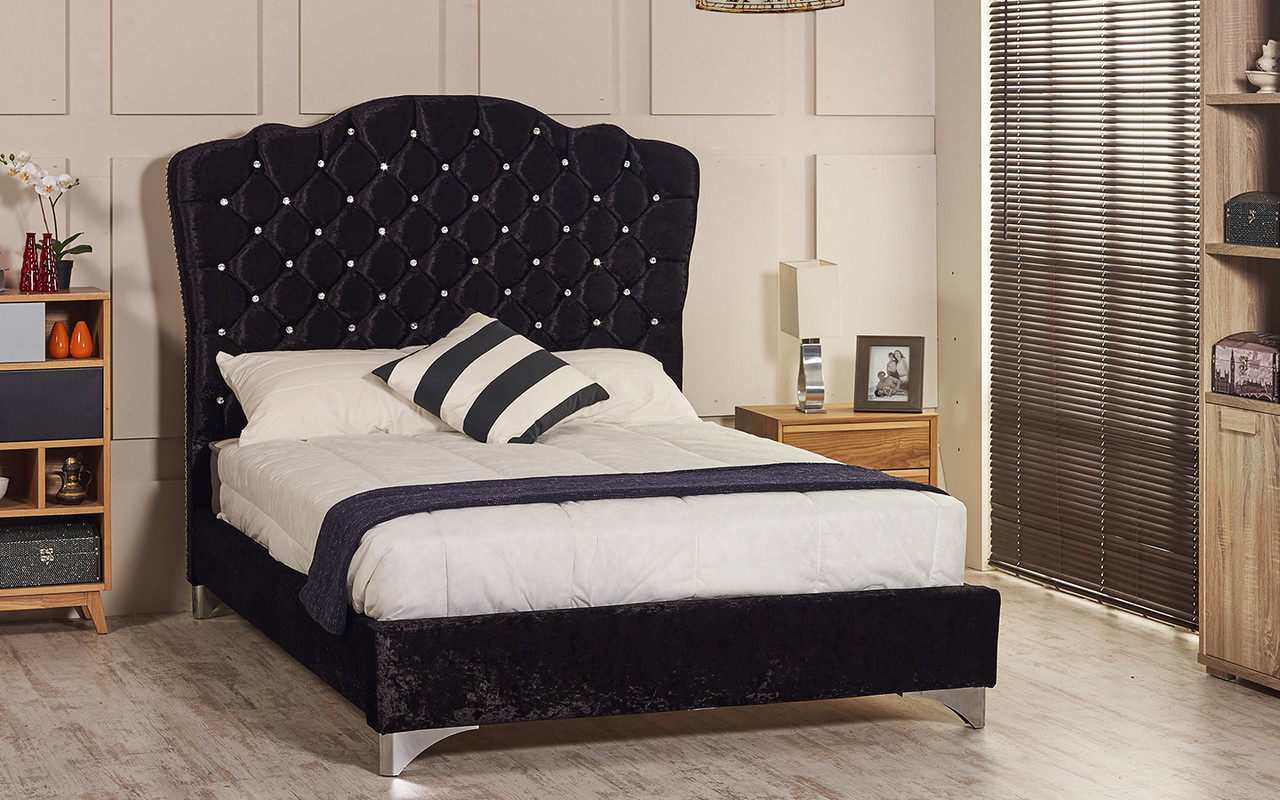 Esupasaver Stirling upholstered bed frame black crush velvet