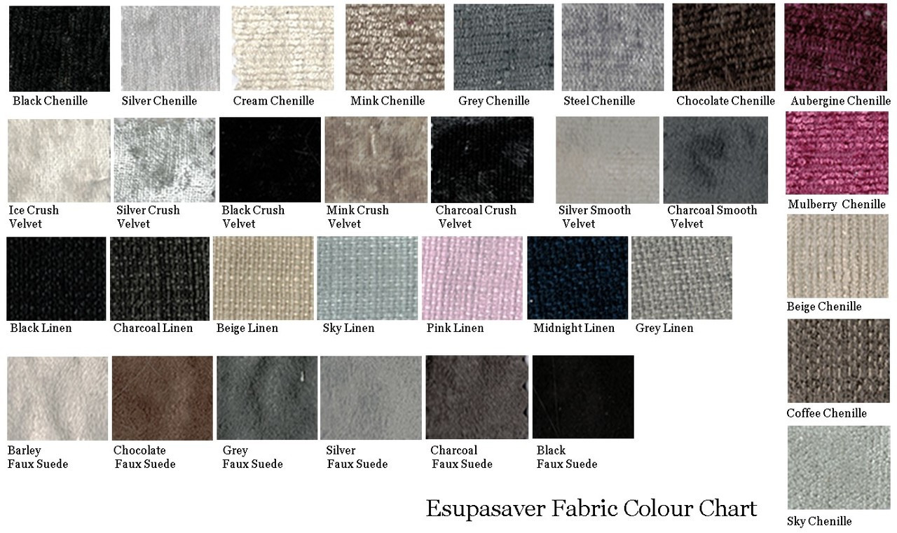 Esupasaver fabric colour chart
