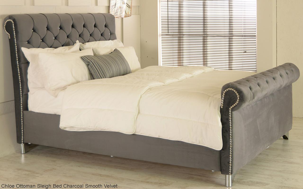 - Chloe Ottoman Sleigh Storage Bed Frame. Available In Crush Velvet