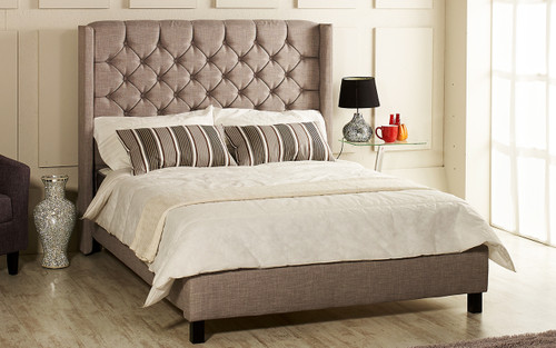 Alecia upholstered bed shown in grey linen fabric, matching buttons and wooden wenge feet.