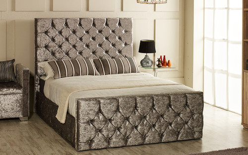 Esupasaver Ella gas lift storage bed Silver Crush Velvet