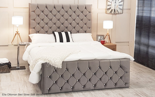 Esupasaver Ella gas lift storage bed Silver Soft Velvet