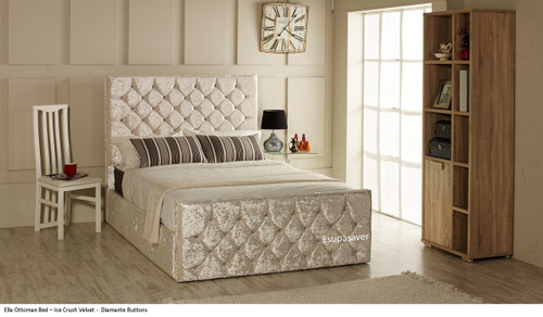 Ella ottoman bed shown in ice crush velvet fabric with diamante buttons