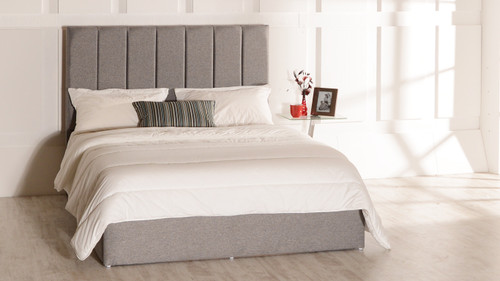 Lily gas lift ottoman bed shown in Tweed Grey Fabric
