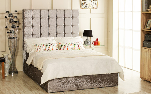 Nevada gas lift ottoman bed shown in silver crush velvet fabric with diamante buttons