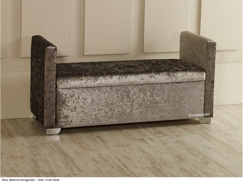 Elissa Ottoman Storage Box Seat. Photo displaying silver crush velvet fabric Available in a vast range of fabrics including  Crush Velvet, Chenille, Linen or Faux Suede Fabrics
