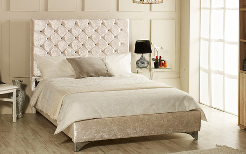 Seattle upholstered bed frame shown in ice crush velvet fabric with diamante button and chrome  feet. The Esupasaver Bed Company Quality Beds Made in England