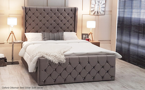 Oxford Ottoman Gas Lift Wing Bed - Headboard Height 150cm - Silver Soft Velvet - Diamante Buttons