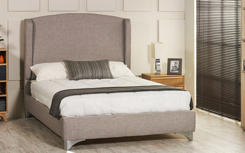 County Upholstered Wing Back Bed - Grey Linen