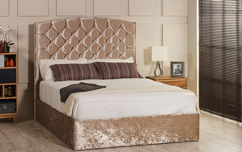 Isabella gas lift ottoman bed shown in mink crush velvet fabric with diamante buttons