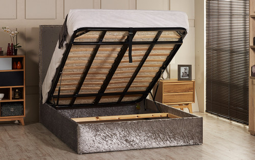 Incredible Ava Gas Lift Ottoman Storage Bed Frame Available In Crush Velvet Chenille Linen Or Faux Suede Fabrics Ncnpc Chair Design For Home Ncnpcorg