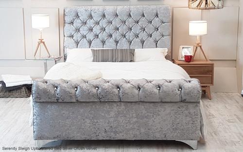 Serenity Sleigh Bed. Silver Crush Velvet. Diamante Buttons