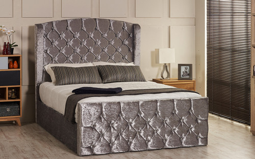 Bursa Ottoman Gas Lift Wing Bed - Headboard Height 130cm - Silver Crush Velvet - Diamante Buttons