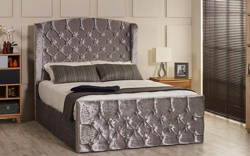 Bursa Ottoman Gas Lift Wing Bed - Headboard Height 130cm - Silver Crush Velvet - Diamante Buttons