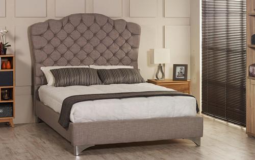 Esupasaver Stirling upholstered bed frame grey linen