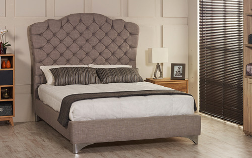 Esupasaver Stirling upholstered bed frame grey linen