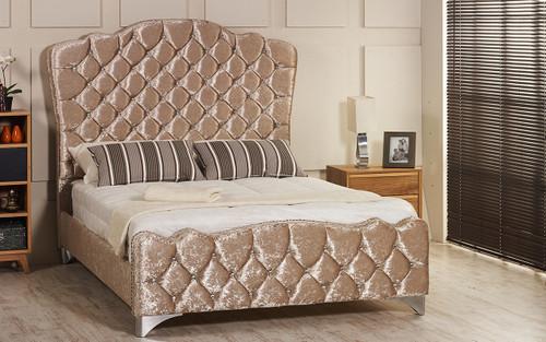 Esupasaver Victoria upholstered bed frame mink crush velvet