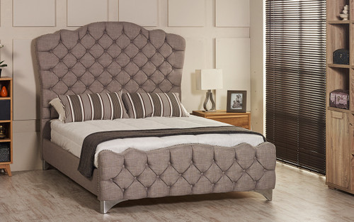 Victoria Bed Frame. Available in Crush Velvet, Chenille, Linen or Faux Suede Fabrics