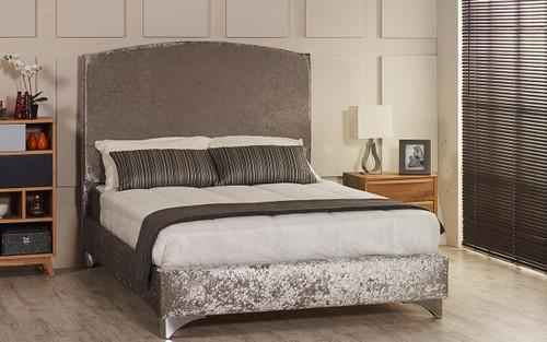 Esupasaver Alanya upholstered bed frame silver crush velvet