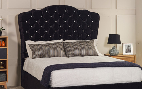 Rochelle Bed Headboard Black Crush Velvet, Diamante Buttons