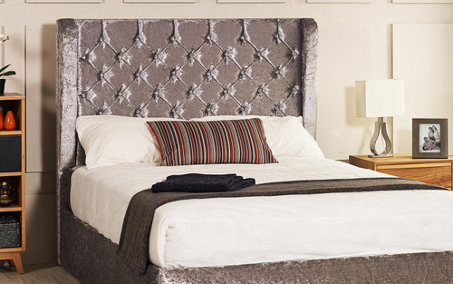 Orchid  Bed Headboard Silver Crush Velvet, Diamante Buttons
