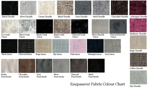 Esupasaver Laura upholstered bed fabric swatch card