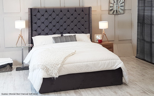 Quebec Ottoman Wing Bed Charcoal Soft Velvet