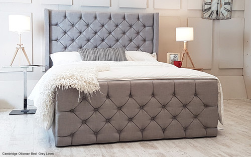 Cambridge Ottoman Wing Bed Grey Linen