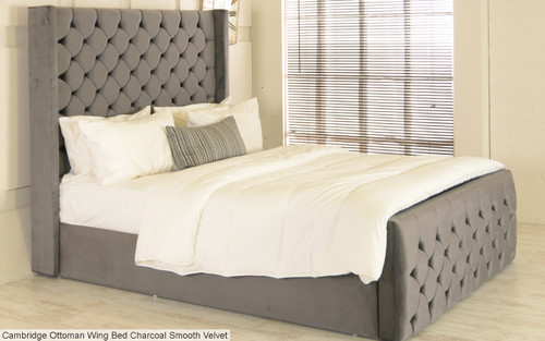 Cambridge Ottoman Wing Bed Charcoal Smooth Velvet