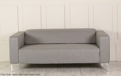 Freya Three Seater Sofa Grey Tweed Fabric