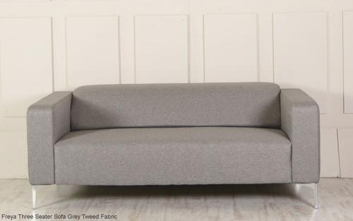 Freya Three Seater Sofa Grey Tweed Fabric