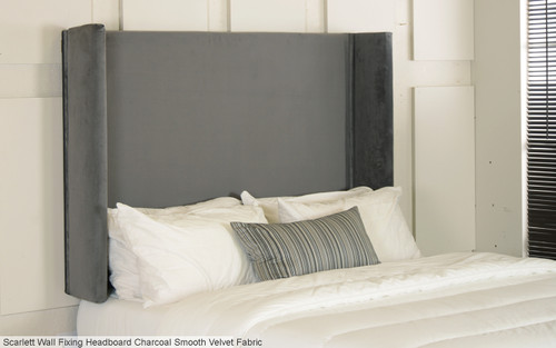 Scarlett Wng Wall Fixing Headboard Charcoal Smooth Velvet