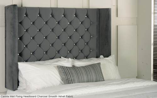 Camila Wng Wall Fixing Headboard Charcoal Smooth Velvet