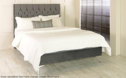 Eloise Upholstered Bed Frame Charcoal Smooth Velvet