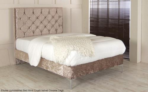 Eloise Upholstered Bed Frame Mink Crush Velvet