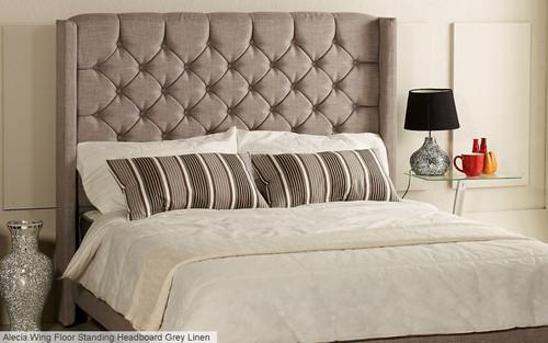 Alecia Floor Standing Headboard Grey Linen Fabric