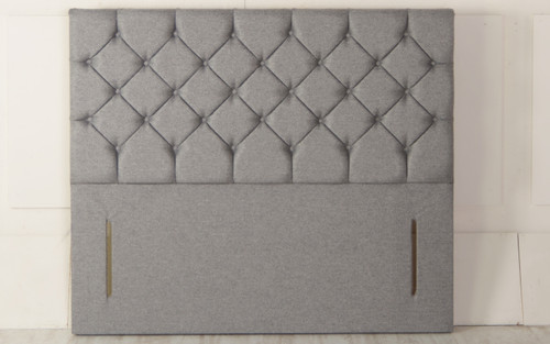 Christina Chesterfield Design Upholstered Floor Standing Headboard Grey Tweed