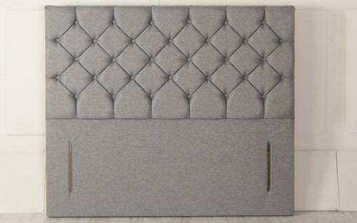 Christina Chesterfield Design Upholstered Floor Standing Headboard Grey Tweed