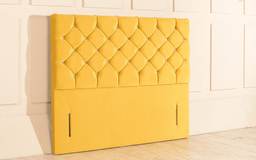 Christina Chesterfield Design Upholstered Floor Standing Headboard Sunshine Gold