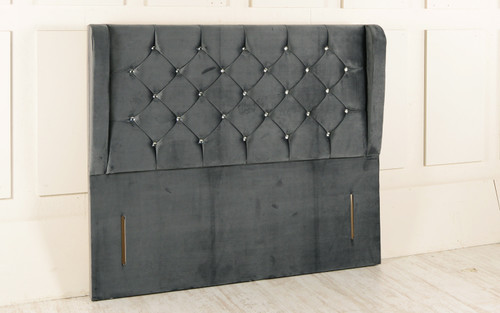 Esrum Winged Chesterfield Upholstered Floor Standing Headboard  Charcoal Smooth Velvet