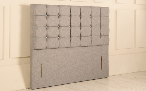 Nebraska Chesterfield Design Upholstered Floor Standing Headboard Grey Tweed