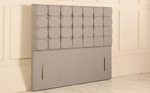 Nebraska Chesterfield Design Upholstered Floor Standing Headboard Grey Tweed