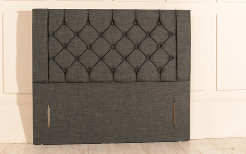 Atlanta Chesterfield Design Upholstered Floor Standing Headboard Charcoal Linen