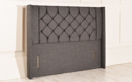 Holbrook Winged Chesterfield Upholstered Floor Standing Headboard Charcoal Linen