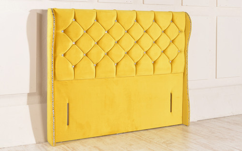 Kansas Winged Chesterfield Upholstered Floor Standing Headboard Sunshine Gold