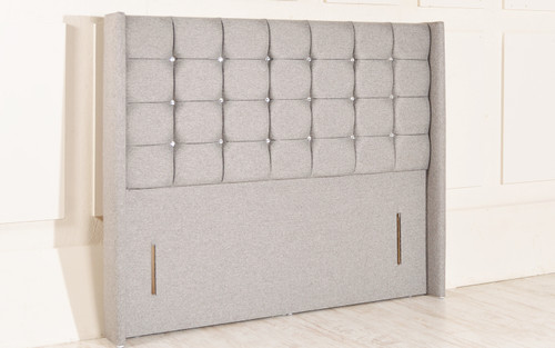 Georgia Floor Standing Headboard Grey Tweed Fabric