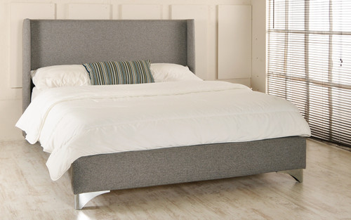 Skara Upholstered Bed Grey Tweed Fabric