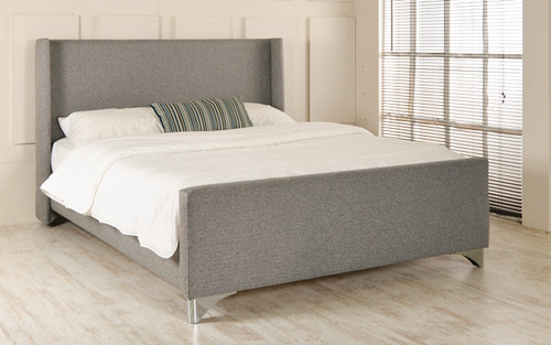 Ystad Upholstered Bed Grey Tweed Fabric