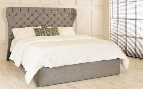 Bruges Gas Lift Ottoman Wing Bed Grey Tweed Fabric Diamante Buttons