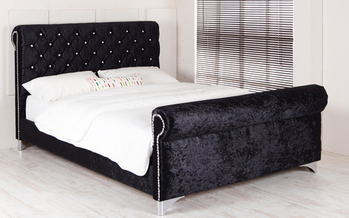 Zoey Sleigh Bed. Black Crush Velvet. Diamante Buttons